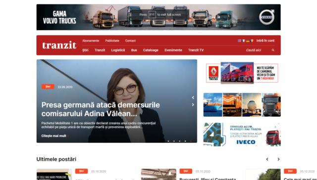 Trafic media desktop preview of homepage